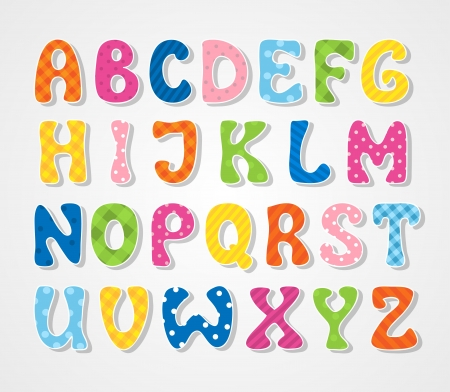 alphabet cartoon: Cute textured sticker alphabet, vector illustration