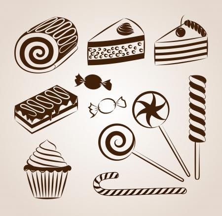 rebanada de pastel: Colección de pastelería dulce