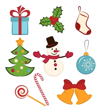 Collection of color Christmas icons objects on white background Illustration