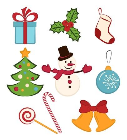 Het verzamelen van kleur Kerst pictogrammen objecten op een witte achtergrond Stock Illustratie