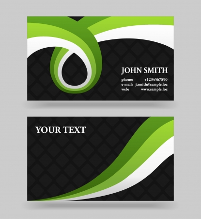 Black and green modern business card template with ribbons royalty black and green modern business card template with ribbons stock vector 16363856 fbccfo Images