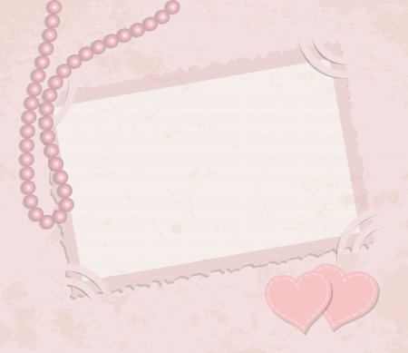 deckle: Pink framework for invitation or congratulation  Retro background with pearls, framework and hearts on pink grunge background