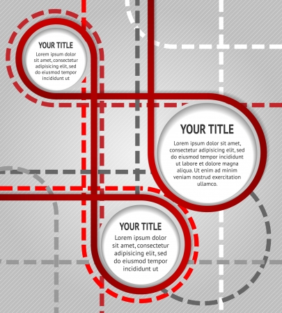 dotted lines: Abstract red banners on gray background with dotted lines