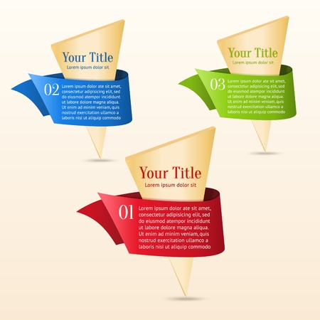 Set van gouden banners met lint Kan gebruik maken van speciale aanbiedingen, promotie of infographics Stock Illustratie