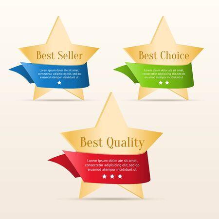 best seller: Best choice, best quality, best seller - golden stars with color ribbons Illustration