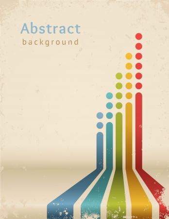 Gekleurde strepen met cirkels, vector Grunge ontwerpsjabloon