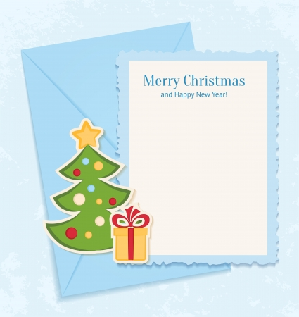 Congratulation blue retro background with Christmas tree, gift and letter Vector