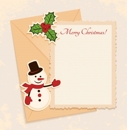 Congratulation gold retro background with snowman, holly and letter  You can use frame for your text or photo Vector