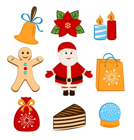 Collection of colorful Christmas icons objects Stock Vector - 16580576