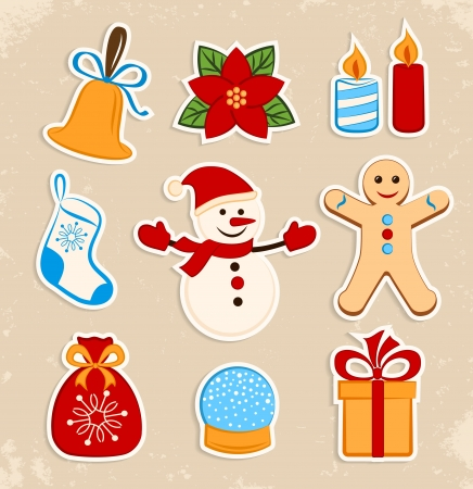 Collection of colorful Christmas stickers Vector