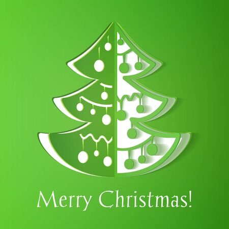 Green paper cut-out christmas tree illustration with smooth shadows, vector Vector