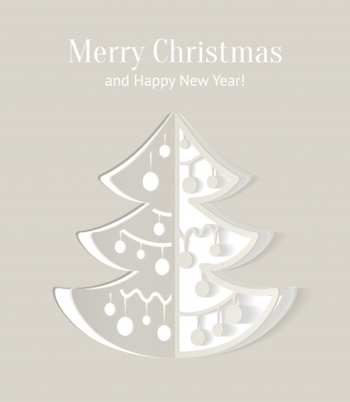 Paper cut-out christmas tree illustration with smooth shadows, vector Vector