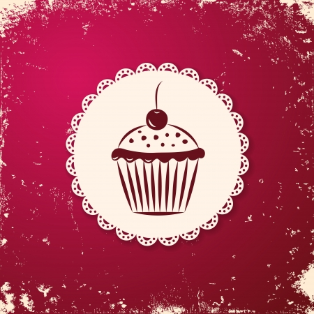 Invitation applique card   background  Label with cupcake on grunge cherry background  Vector