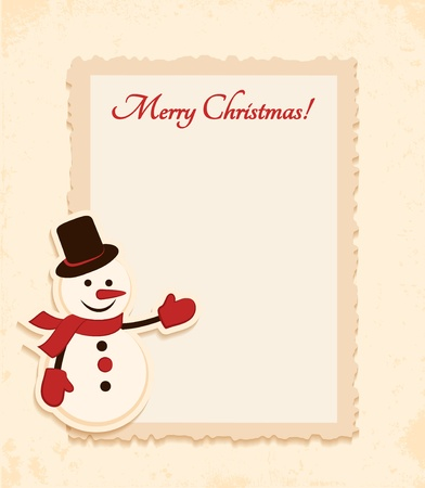 Congratulation gold retro background with snowman and frame  You can use frame for your text or photo Vector