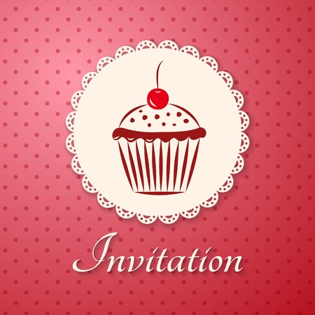 Invitation applique card   background  Label with cupcake on pink background with polka dots Vector