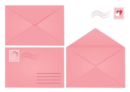 love letters: Set of pink envelopes  Closed envelope, opened envelope and envelope with mark and stamp