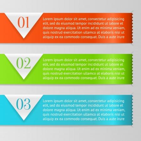 Vector One, Two, Three vooruitgang etiketten met pijlen op grijze achtergrond, realistisch knippen, neemt de achtergrondkleur