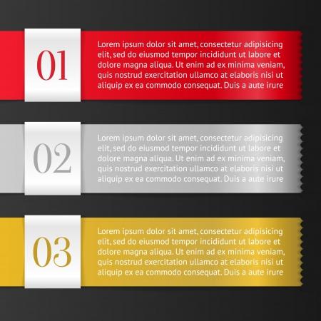 Vector One, Two, Three vooruitgang etiketten met pijlen op zwarte achtergrond; realistische knippen, neemt de achtergrondkleur Stock Illustratie