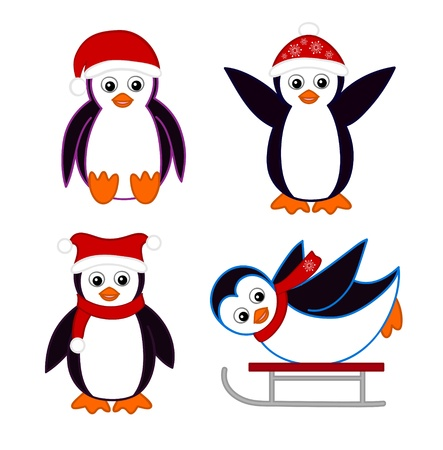 marine bird: Collection of cute cartoon penguins wearing red hats and scarves
