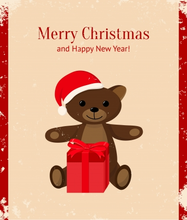 Retro Christmas card with teddy bear and present Vector