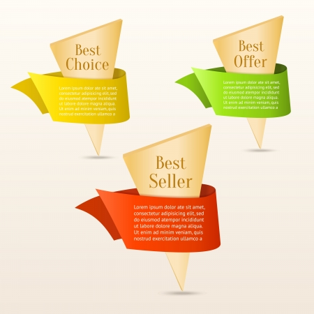 Set of gold banners with color ribbon Stock Vector - 16968745