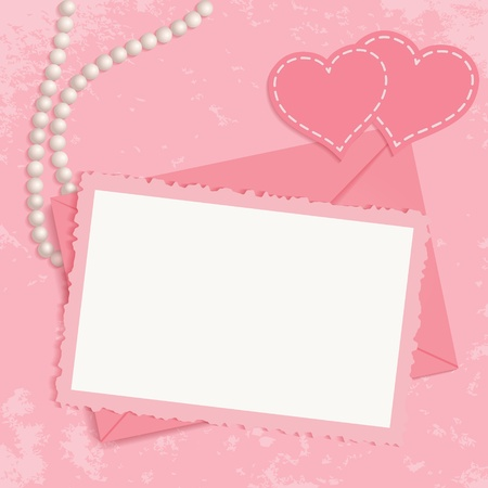 album greetings: Retro pink framework for invitation or congratulation  Pearls, framework, envelope and hearts on pink grunge background  You can use frame for your text