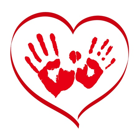 Man s and woman s red handprints in a heart on white background Vector