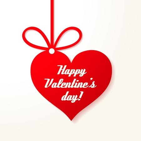Applique card Valentine s achtergrond Opknoping rood hart met groeten Stock Illustratie