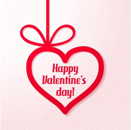 Applique card Valentine s achtergrond Opknoping hart met groeten op roze achtergrond