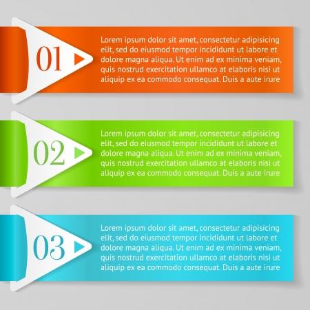 Een, Twee, Drie vooruitgang etiketten met pijlen op grijze achtergrond Stock Illustratie