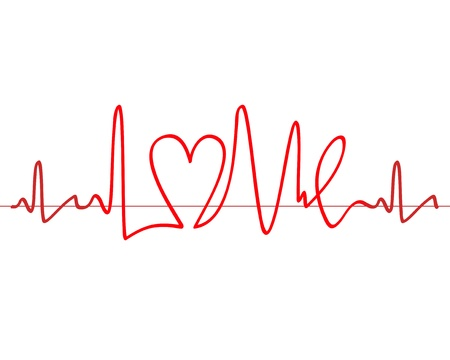 Word  Love  shape electrocardiogram on white background Vector