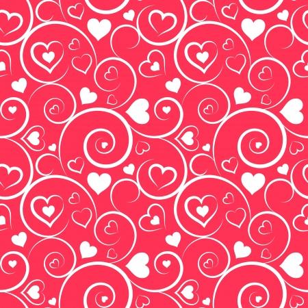 Liefde Het naadloze patroon van witte harten en wervelingen op roze achtergrond