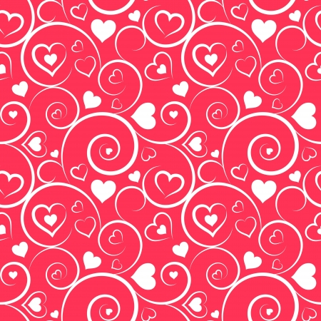 Love seamless pattern  White hearts and swirls on pink background Vector