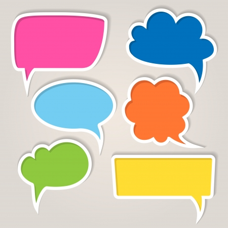 speech marks: Set of colorful speech bubbles