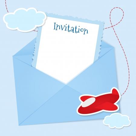 Blauwe uitnodigingskaart met wolken en vliegtuig stickers