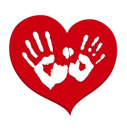 Two white handprints on a red heart  Vector