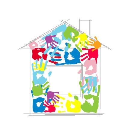 empreinte de main: Maison faite notion de port�e des enfants et le parent s s Vecteur empreintes de mains Illustration