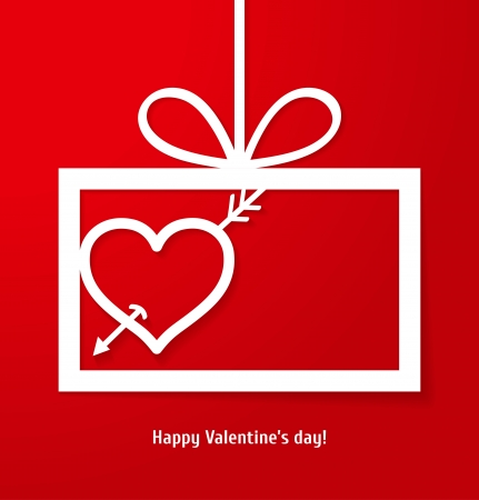 Valentine s applique card background  Frame with arrow in the heart and place for your text  Vector