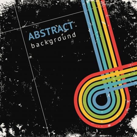 Grunge retro zwarte achtergrond met kleur strepen, vector