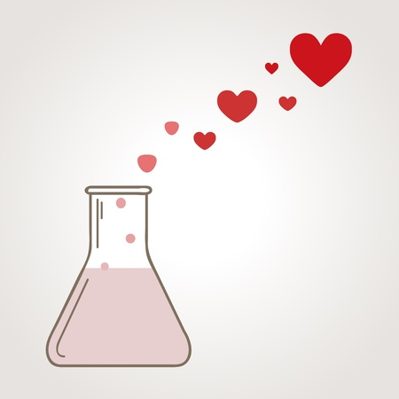 A love potion illustration with flask and heart-shape bubbles