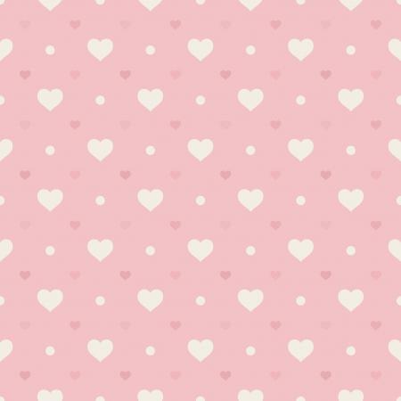 Retro Hearts seamless pattern y los puntos en fondo rosado Ilustración de vector