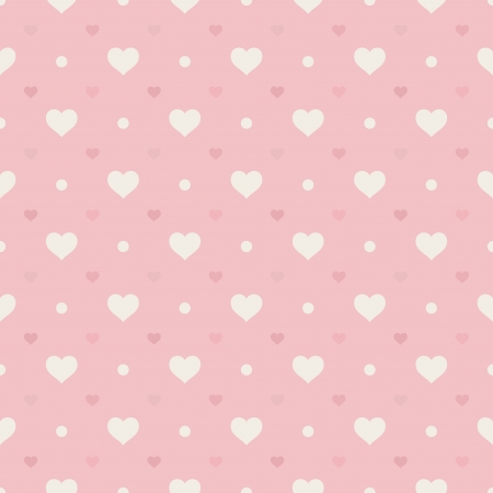 Retro seamless pattern  Hearts and dots on pink background Vector