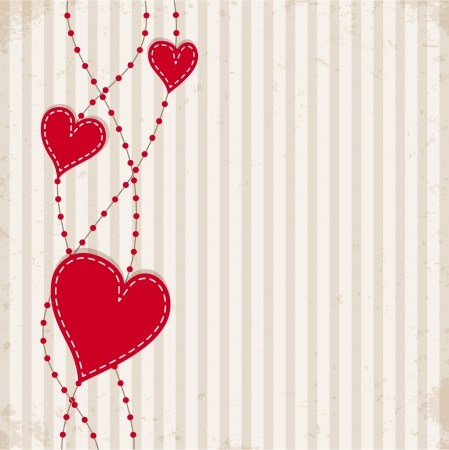 Vintage background with hearts Stock Vector - 17577019