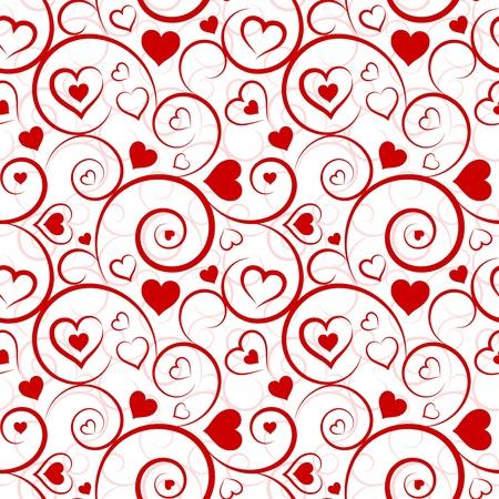 Liefde naadloze patroon Rode harten en wervelingen op witte achtergrond