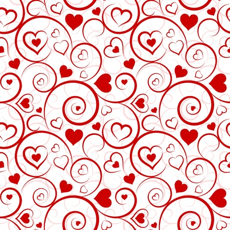 Love seamless pattern  Red hearts and swirls on white background