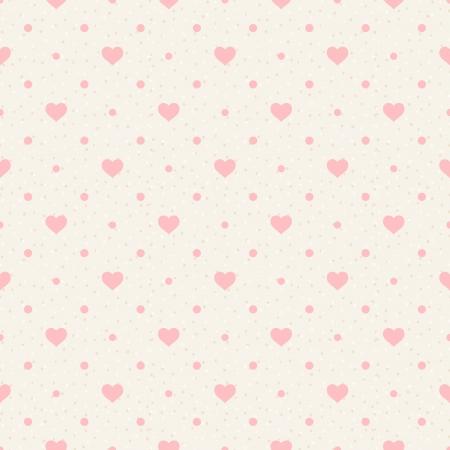 シームレスなレトロ柄ピンクの心とベージュ色の背景上のドット