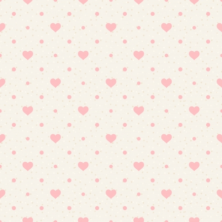 Retro seamless pattern  Pink hearts and dots on beige background Vector