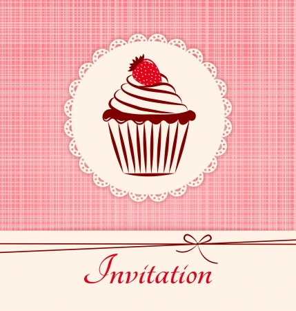 sweet love: Invitation applique card   background  Label with cupcake on pink seamless textile background  Illustration