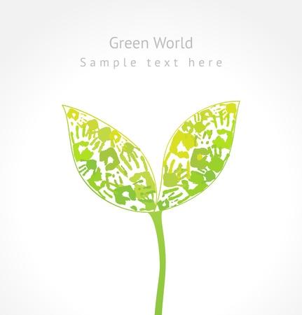 Groene spruit met bladeren gemaakt van handafdruk en voorbeeldtekst Eco concept voor uw ontwerp