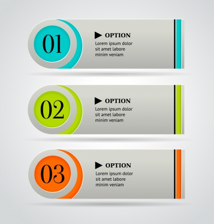 descriptions: Horizontal colorful options banner template   illustration Illustration